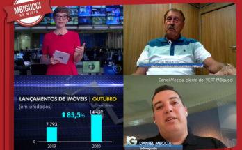 Composição de imagens extraídas da matéria no Jornal da Record expõe o cliente VERT MBigucci, Daniel Meccia e o presidente da construtora MBigucci, Milton Bigucci.